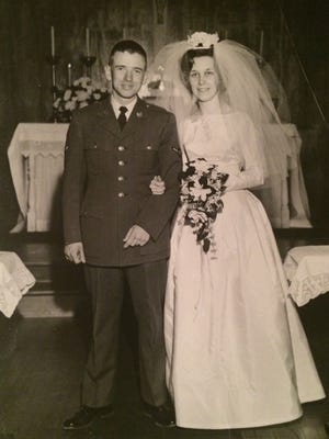 David and Nardra (Comstock) Mitchell on their wedding day, March 5, 1966 at St. Cabrini Church in Paris, Missouri.