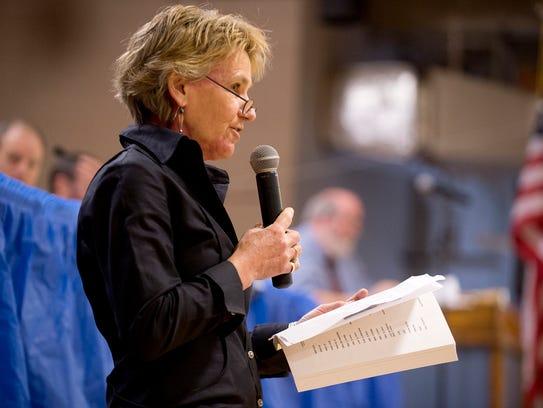 Mary Mead, Charlotte's town clerk and treasurer, speaks