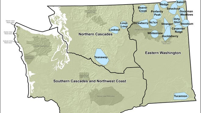 A map showing Washington's wolf population.