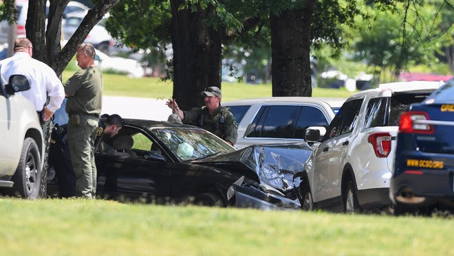Deputies are handling a situation at Greenville Memorial Hospital involving a stolen vehicle that had wrecked into a Sheriff's Office patrol vehicle Thursday afternoon.