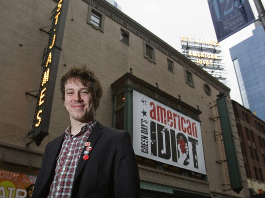 "Delaware native John Gallagher Jr. in front of the marquee at St. James Theatre in New York City, where he is starred in ""American Idiot"" in 2010."