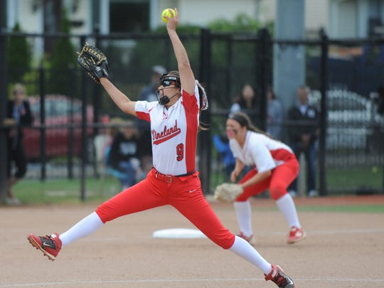 Vineland's Nicole Ortega delivers a pitch against North Hunterdon in the Group 4 softball state final at Kean University on Sunday. 06.03.18.