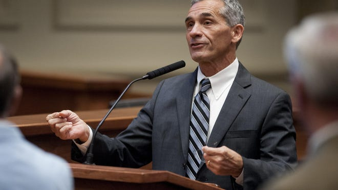 Sen. Del Marsh speaks on the floor of the senate as the Alabama Legislature begins the special session at the Alabama Statehouse in Montgomery, Ala. on Tuesday September 8, 2015. The Senate Monday approved a $100 million transfer of use tax money from the education budget to the General Fund.