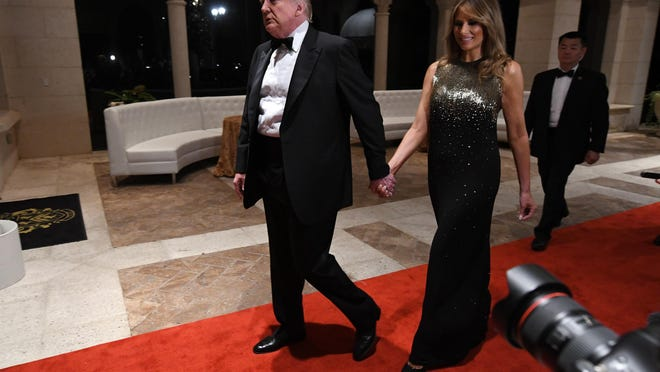 President Donald Trump and First Lady Melania Trump attend a New Year?s Eve celebration at Mar-a-Lago.