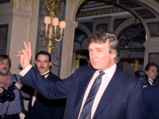 In this April 9, 1991 file photo, Donald Trump is seen in New York. Back when Trump's love life was tabloid heaven, a Trump spokesman with intimate knowledge of the businessman''s personal relationships offered juicy stories about a failing marriage, a new live-in paramour and three other girlfriends he was juggling at once.