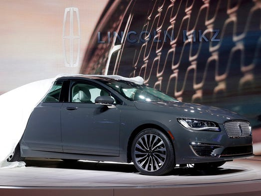 The 2017 Lincoln MKZ is shown at the Los Angeles Auto