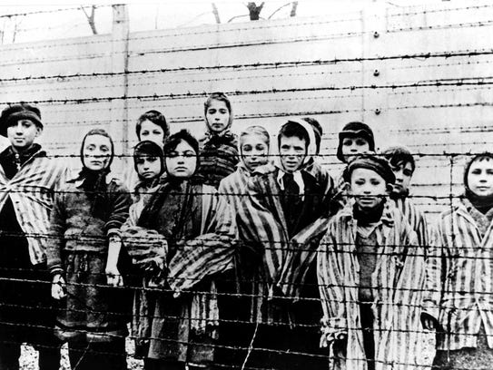 A picture taken just after the liberation of the  Auschwitz