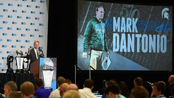 Michigan State head coach Mark Dantonio addresses the media during the Big Ten football media day at Hyatt Regency McCormick Place.