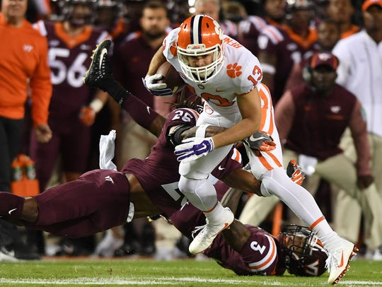 Clemson wide receiver Hunter Renfrow (13) makes a reception