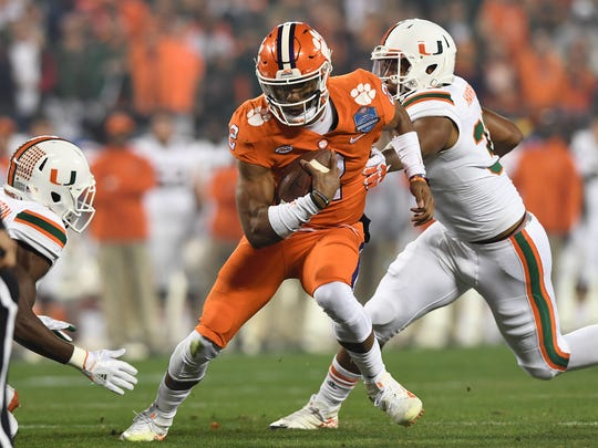 Clemson quarterback Kelly Bryant (2) carries against Miami during the 1st quarter of the ACC championship game against Miami at Bank of America Stadium in Charlotte on Saturday, December 2, 2017.