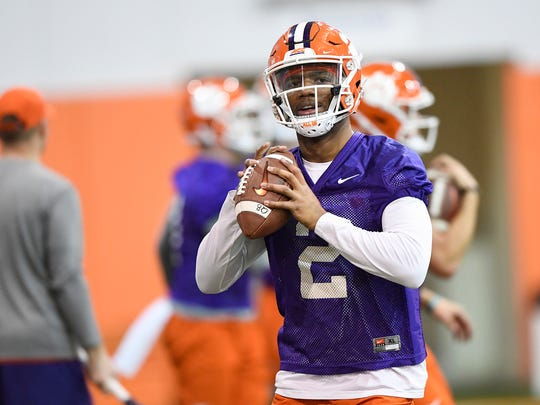 Clemson quarterback Kelly Bryant (2) during the Tigers opening day of spring practice on Wednesday, February 28, 2018.