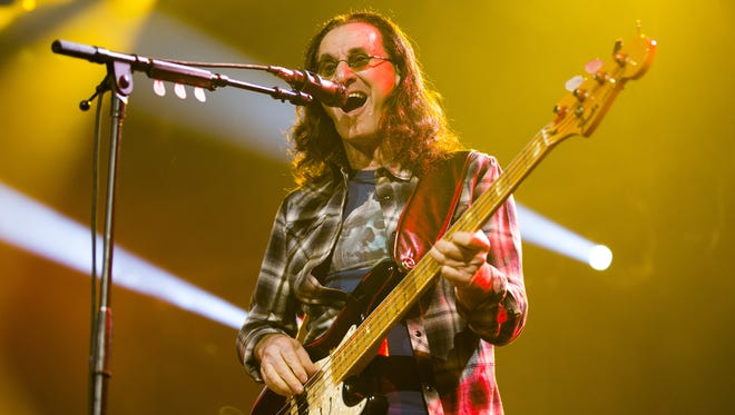 Rush singer/bassist Geddy Lee entertains the crowd at US Airways Center July 27, 2015.
