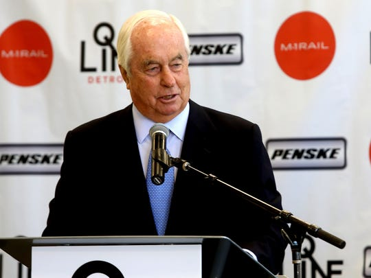 Roger Penske, the founder and chairman of the Penske Corporation, speaks about the efforts to bring the QLINE to the city during the official dedication of the new Penske Tech Center on Woodward Avenue in Detroit on May 3, 2016.