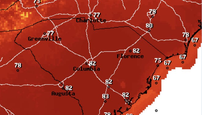 Another record high temperature could be broken Friday as temperatures are forecast to reach between 76 and 78 degrees in the Upstate. The record high of 76 was set in 2017.