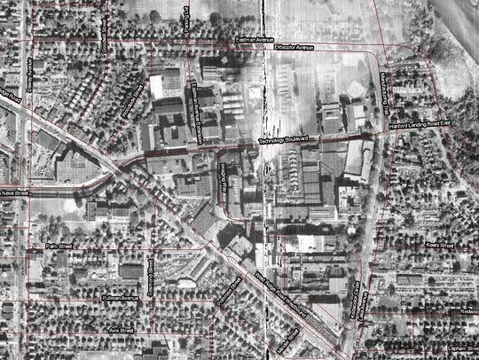 A 1951 aerial view of the neighborhood around Lake