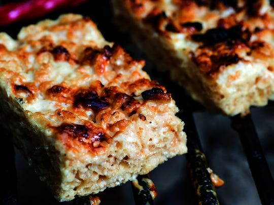 Grilled Twizzlers and Rice Krispies Treats will leave your grates sticky, so throw these on last.
