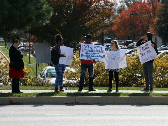 A group gathered outside York County School of Technology Friday to protest some of the alleged racist activities that have been happening at the school.