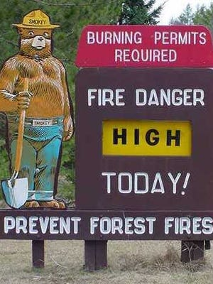 Fire danger is high around most of central Wisconsin on Monday.