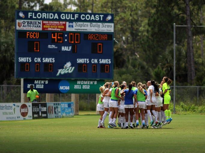 The FGCU women's soccer team rallies before their season opener against Arizona.