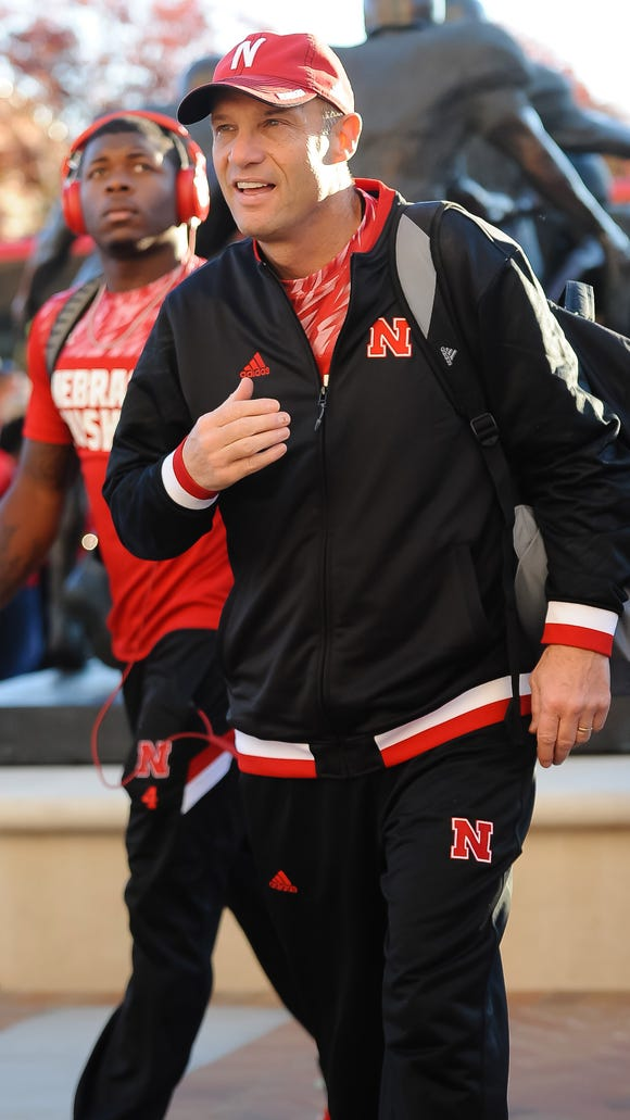 Oct 24, 2015; Lincoln, NE, USA; Nebraska Cornhuskers head coach Mike Riley arrives at the stadium before the game against the Northwestern Wildcats at Memorial Stadium. Mandatory Credit: Steven Branscombe-USA TODAY Sports