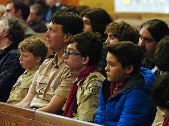 Members of Boy Scouts Troop 1029, Our Lady Queen of Martyr, attended Monday's presentation.