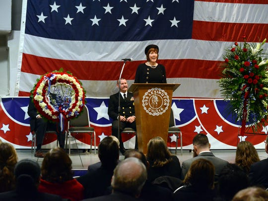 "Cynthia Crouch, daughter of Navy Lt. Cmdr. W.L. ""Babe"" Crouch, talks about her father during his memorial service Saturday, Jan. 7, 2017, on the Lexington Museum on the Bay. Babe Crouch, who died at 91 in November, was a retired Navy pilot who served in WWII, the Korean War, Vietnam, and several other skirmishes."