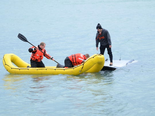 Nolan Mullins experienced a steering problem with his Ford Flex and he ended up in Lake St. Clair off Lake Shore Road between Clairview and Webber in Grosse Pointe Shores on Saturday, Feb. 25, 2017. The U.S. Coast Guard rescued him.