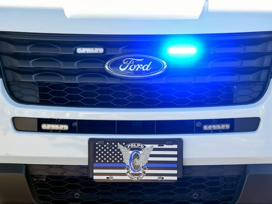 The front of a Ford Interceptor patrol vehicle is seen