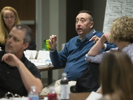 Brandyn Ferguson, vice-president of human resources at Endress+Hauser in Greenwood, shares his thoughts during a leadership training  exercise at the company's Greenwood campus. The exercise is part of training designed to foster a new approach to leadership.