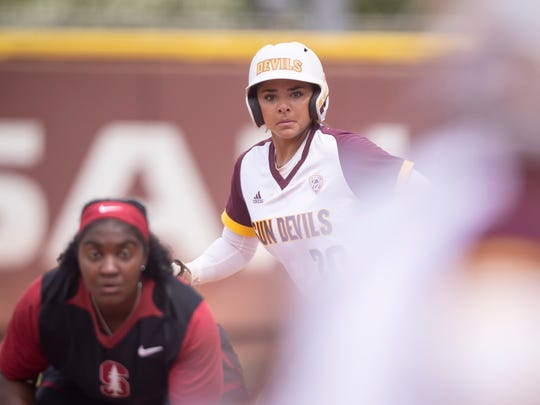 Marisa Stankiewicz (20) of Arizona State his ASU's second leading home-run hitter and leads in on-base percentage.