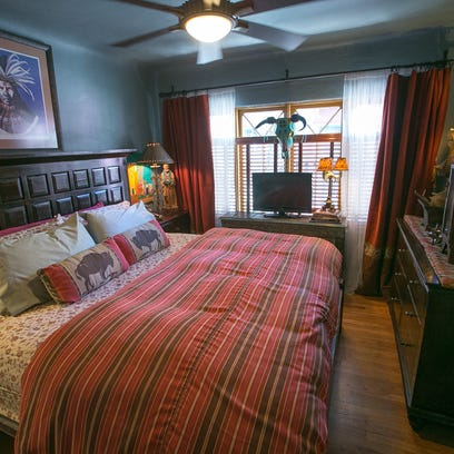 The master bedroom in Todd and Donna Himes' Tudor-style