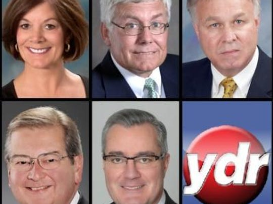 The five 2015 candidates for the York County Board of Commissioners. From top left to bottom right: Susan Byrnes, R; Steve Chronister, I; Doug Hoke, D; Henry Nixon, D; Chris Reilly, R.