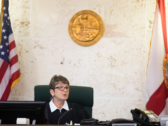 Collier Circuit Judge Christine H. Greider speaks during a pretrial hearing for Mesac Damas at the Collier County Courthouse on Tuesday, Sept. 5, 2017, in Naples.