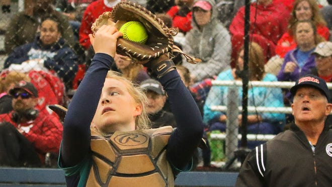 Siegel catcher KaraLynne Levi catches a pop up in the Lady Stars' 7-0 win over Stewarts Creek in the Region 4-AAA championship.