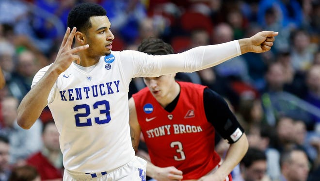 Kentucky's Jamal Murray lets fly the arrow after knocking down a three. Mar. 17, 2016