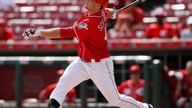 Cincinnati Reds right fielder Scott Schebler (43) singles in the eighth inning during the MLB National League baseball game between the New York Mets and the Cincinnati Reds, Wednesday, Sept. 7, 2016, at Great American Ball Park in Cincinnati.