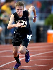 Central Magnet's Jordan Shirley runs in the Spring Fling TSSAA Boys Class A-AA 3200 Meter Run on Friday May 22, 2015. Jordan  placed 6th in the State.