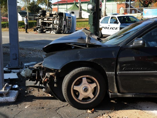 A car and a Lancaster Public Transit van were involved in a crash Thursday at the intersection of N. High Street and E. Fair Avenue. One person was injured in the crash and was transported to Fairfield Medical Center.