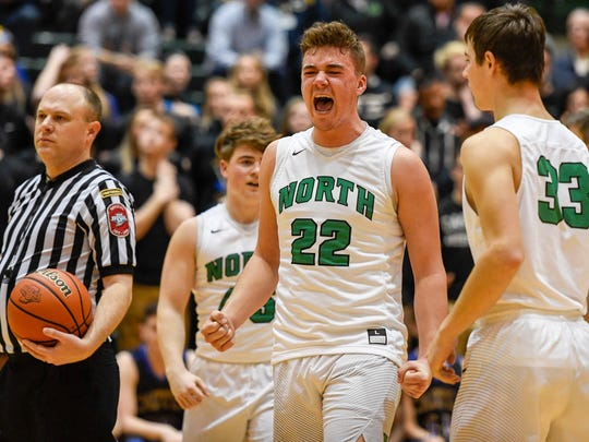 North's Cameron Seaton (22) reacts in the closing seconds as the Castle Knights play the North High Huskies for the Class 4A Sectional Championship at North Saturday, March 3, 2018.