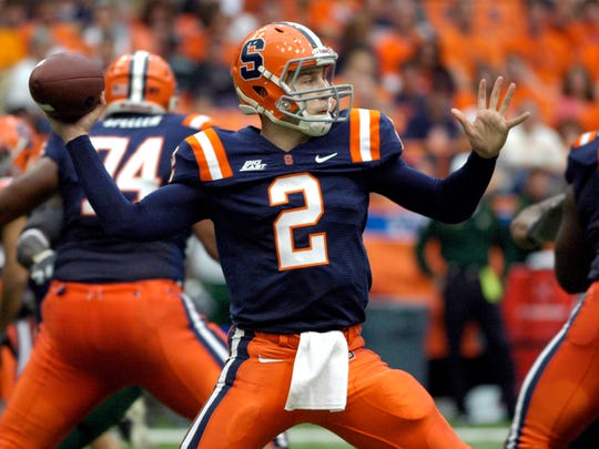 In this photo taken on Saturday, Oct. 3, 2009, Syracuse quarterback Greg Paulus throws against South Florida during an NCAA college football game in Syracuse, N.Y. (AP Photo/Kevin Rivoli, File)