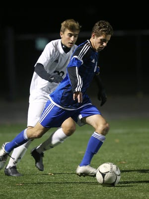 Brockport's Zach Langelotti, right, shown here in  last year's Section V Class A1 semifinals.