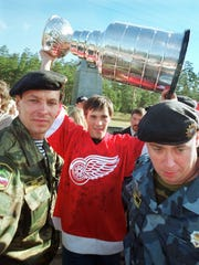 Russian special riot police guard Detroit Red Wings'