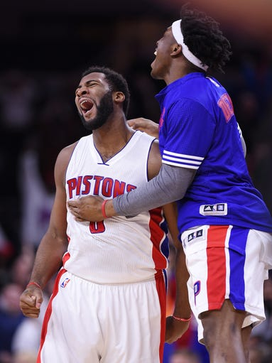 Detroit  Pistons' Andre Drummond celebrates his winning