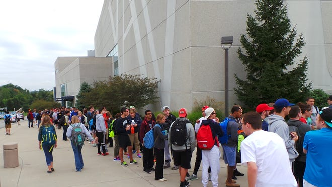 Xavier students on Friday lined up for Cavs-Pacers preseason tickets.