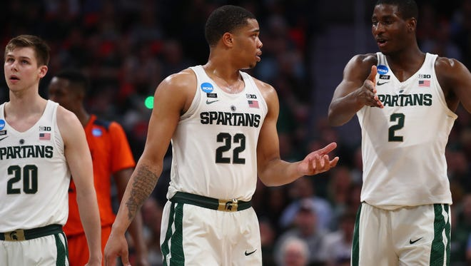 Michigan State sophomore Miles Bridges, left, is headed to the NBA. Freshman Jaren Jackson Jr., right, is yet to make his decision.