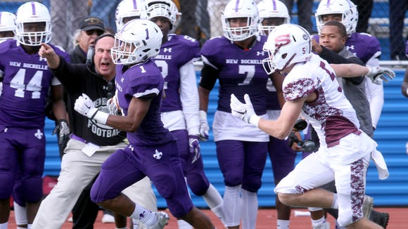 New Rochelle's Najee Bass rushes for a 79 yard touchdown