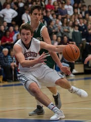 Worcester Prep's Tucker Brown (23) drives the ball
