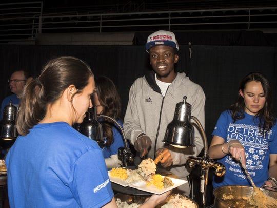Reggie Jackson at the Pistons' annual Thanksgiving dinner Nov. 18, 2015.