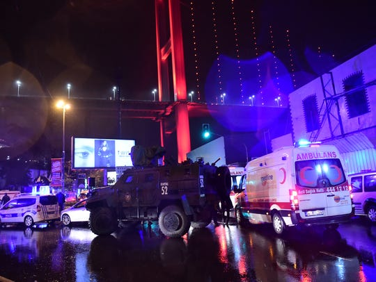 Turkish special force police officers and ambulances