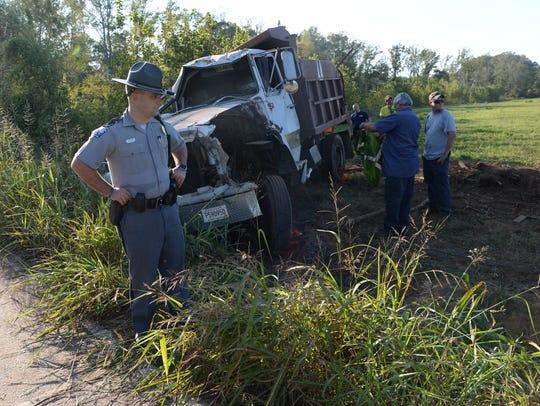 A trooper investigates a fatal crash in Starr Tuesday.